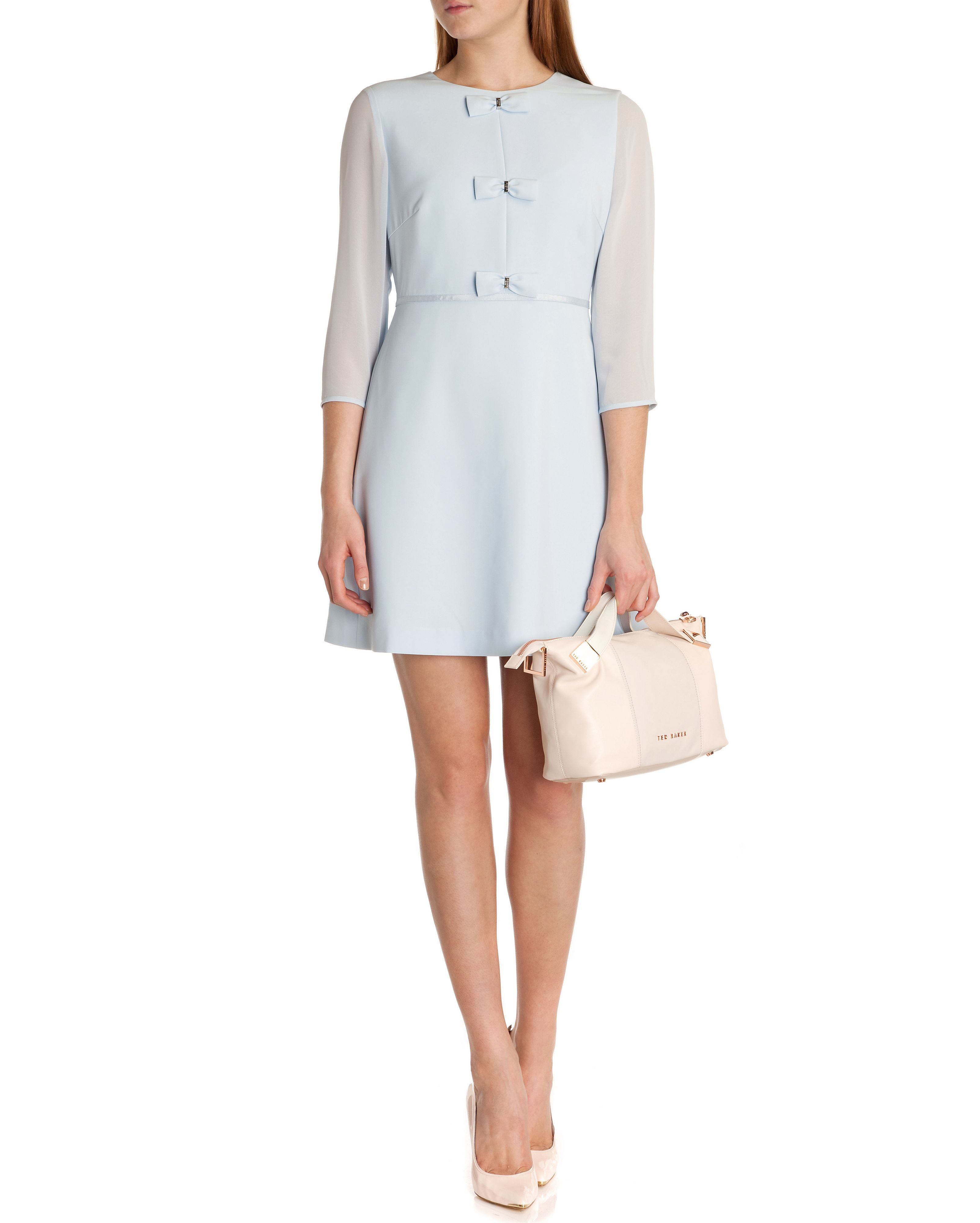 3aa5355f55b20a ted-baker-blue-finna-bow-detail Dress Powder Blue Girlish bows focus the  jewel-neck bodice of this stretch-woven dress eased by airy three-quarter  sleeves ...