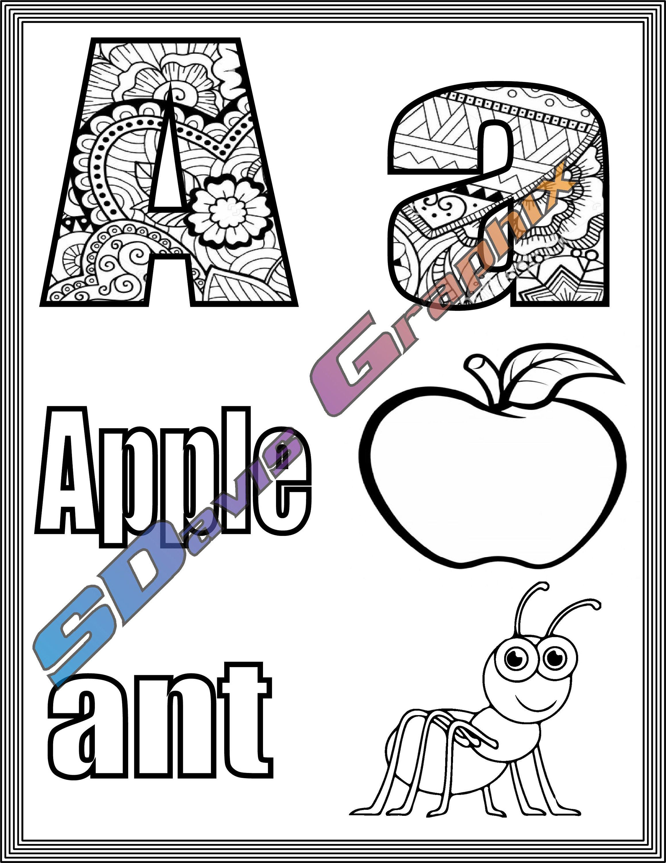 Kids Coloring Pages A To Z With Visuals Etsy In 2021 Coloring For Kids Coloring Pages Coloring Pages For Kids