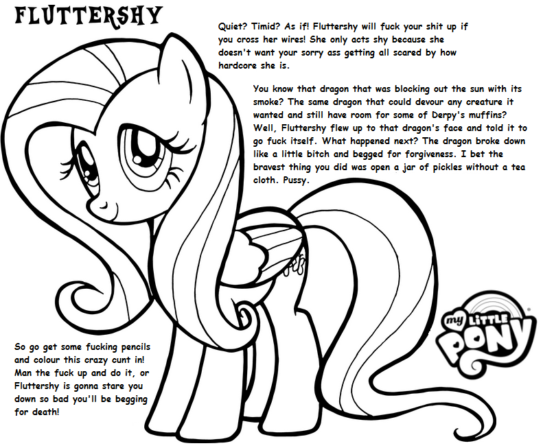 My Little Pony Coloring Pages Discord. MLP  Aggressive Coloring Book Fluttershy My Little Bronies