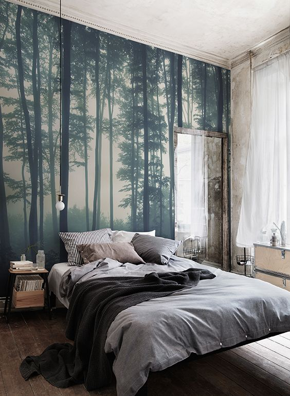 Sea of Trees Forest Mural Wallpaper   MuralsWallpaper   preschool     Discover calming interior design with a moody forest wallpaper  Featuring a  sea of trees in deep misty hues  this wallpaper can transform any room into  a