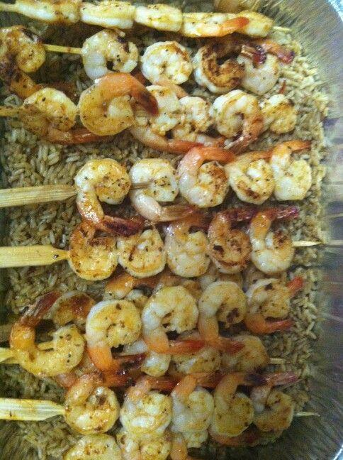 Shrimp kabos with cajun dirty rice...