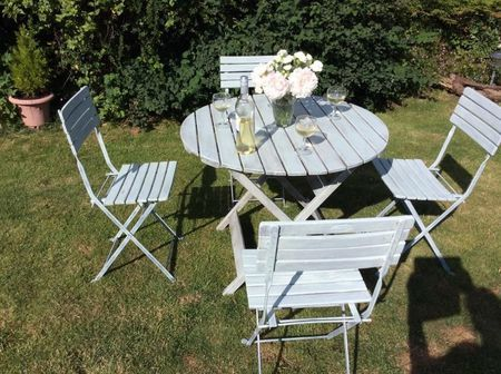 Shabby Chic Beach Style Garden Table 4 Chairs Wood Folding For