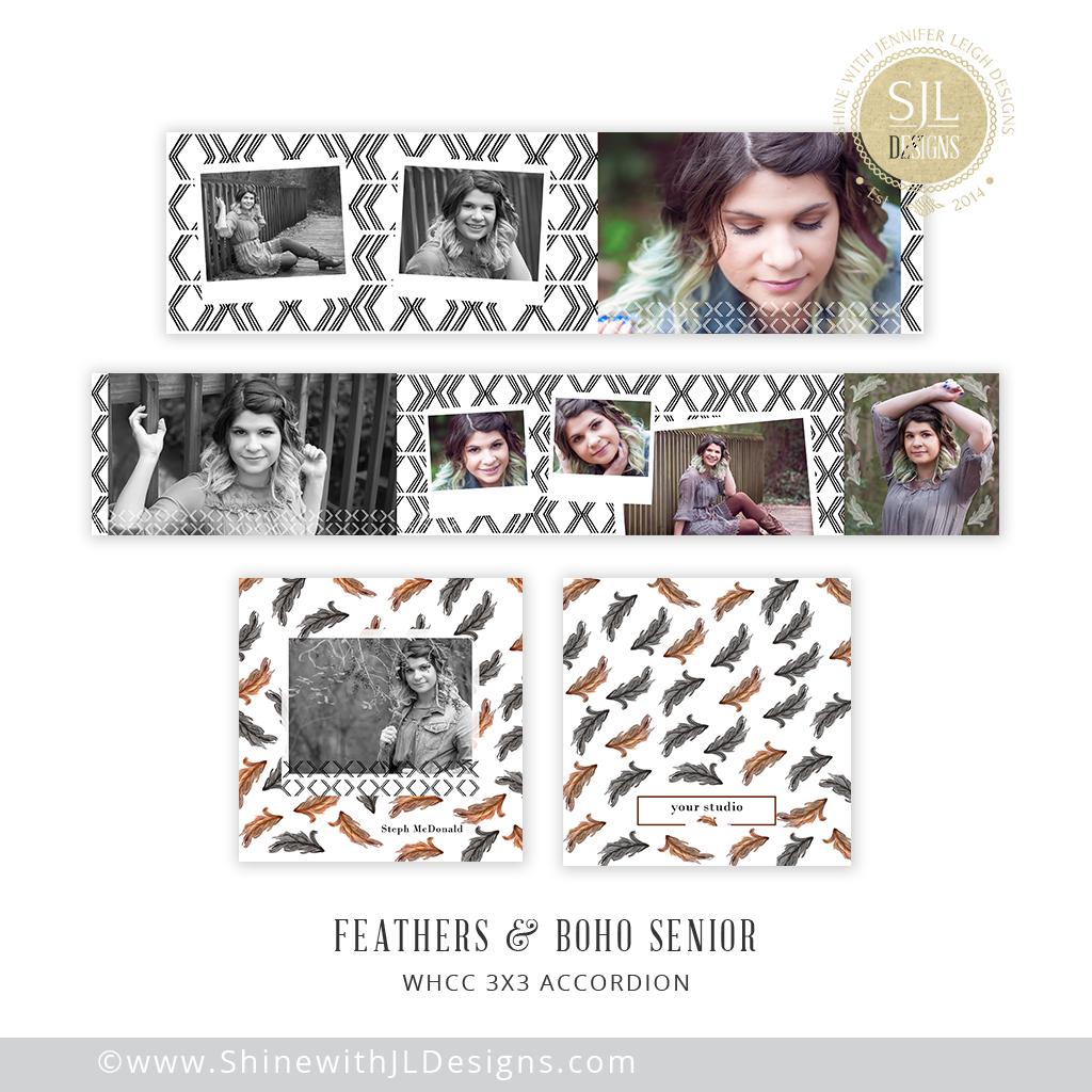 Feathered, tribal, bohemian senior mini accordion album template ...