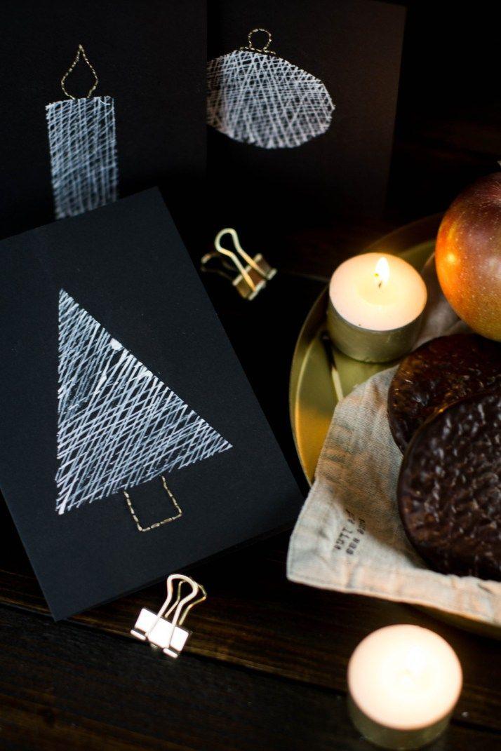 diy einfache weihnachtskarten schwarz weiss gold sticken bestickt christmascards 7 christmas. Black Bedroom Furniture Sets. Home Design Ideas