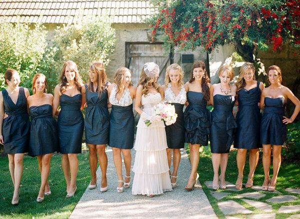 17f2f01cf56 bridesmaid idea....like that maid and matron could have same dress and  everyone else different