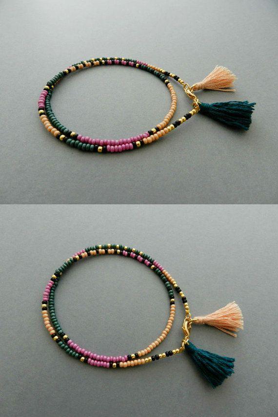 Friendship Bracelet, Tassel Wrap Beaded bracelet Boho Jewelry
