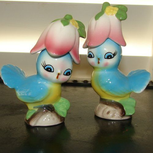 Gorgeous Blue Bird Salt and Pepper Shakers - MINT and Vibrant Colors