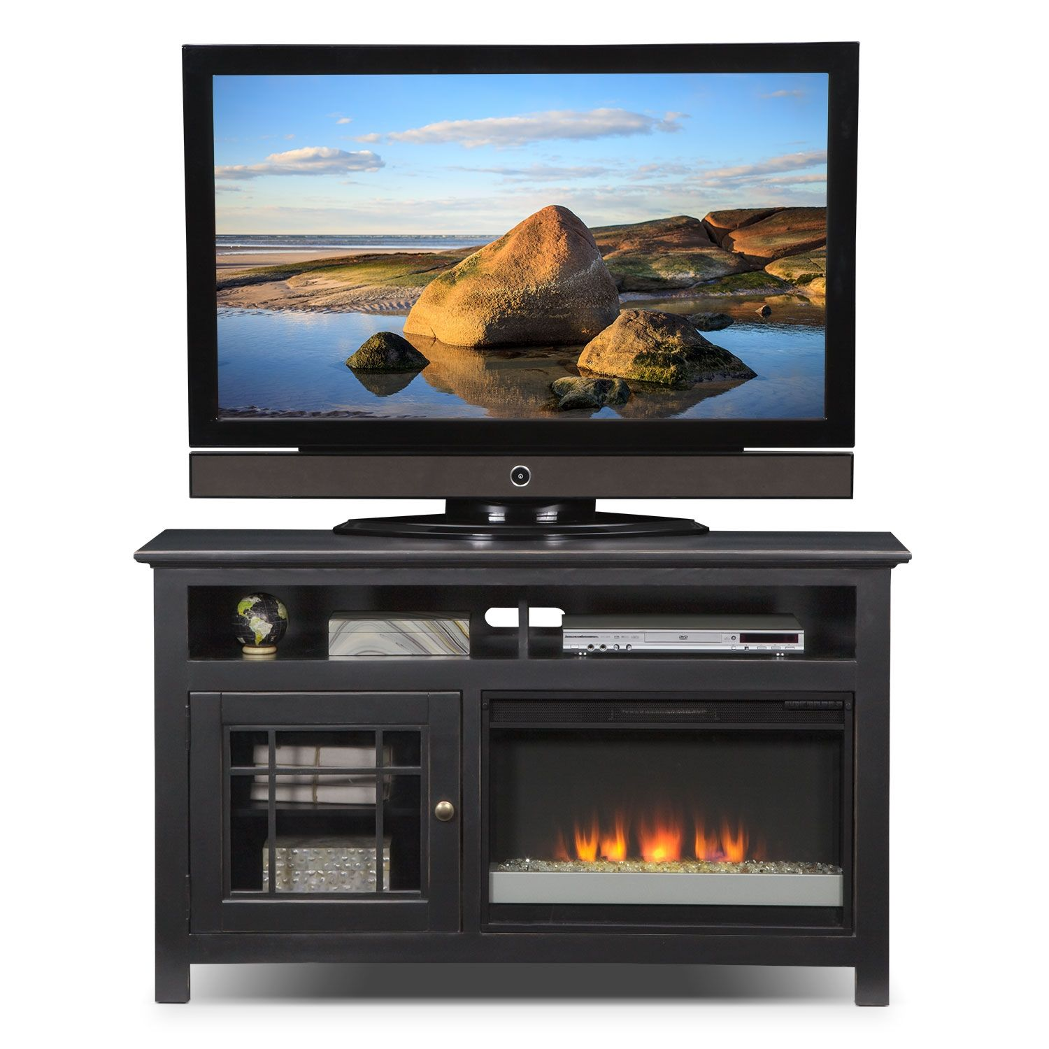 Merrick Black 54 Fireplace Tv Stand Value City Furniture The