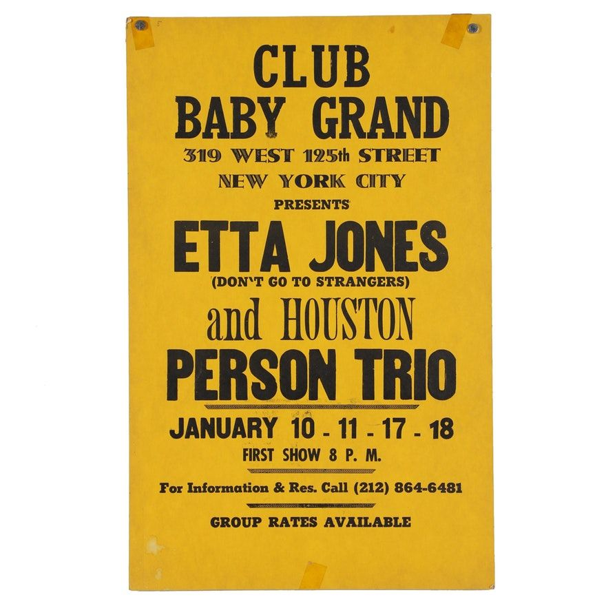 1975 Etta Jones and Houston Person Trio Concert Poster | Concert posters,  Concert, Trio