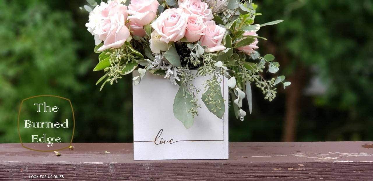 "Beautiful wood ""love"" flower box table centerpiece, white or brown personalized gift"