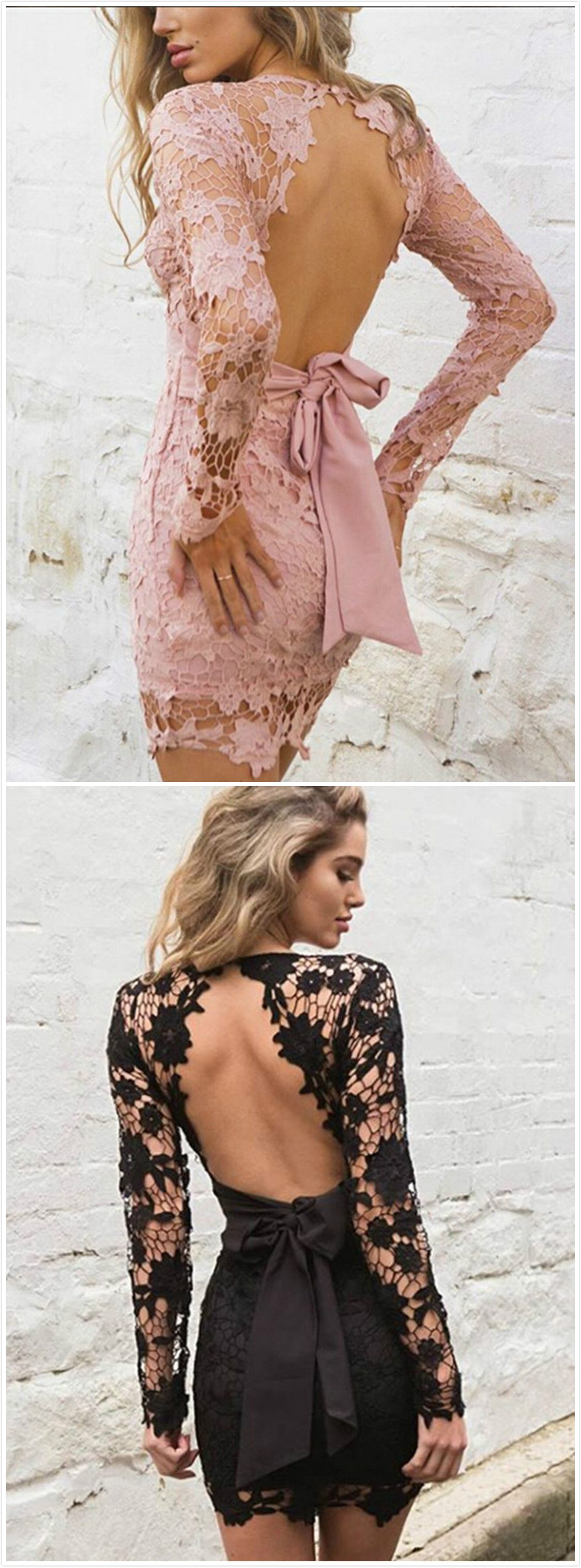 Women's V Neck Backless Hollowed out Crochet Bodycon Dress with Belt