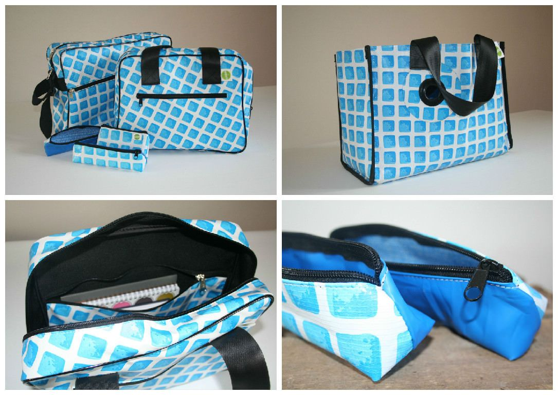 """These objects are made of old pool liner. We called them """"RESAC, the pool is in the bag"""". We use old used communication banners to create our bags but we wanted to revive our old pool. Today we sew our bags with the help of people with disabilities specialists in leather.       #Accessories, #Pool, #Social"""