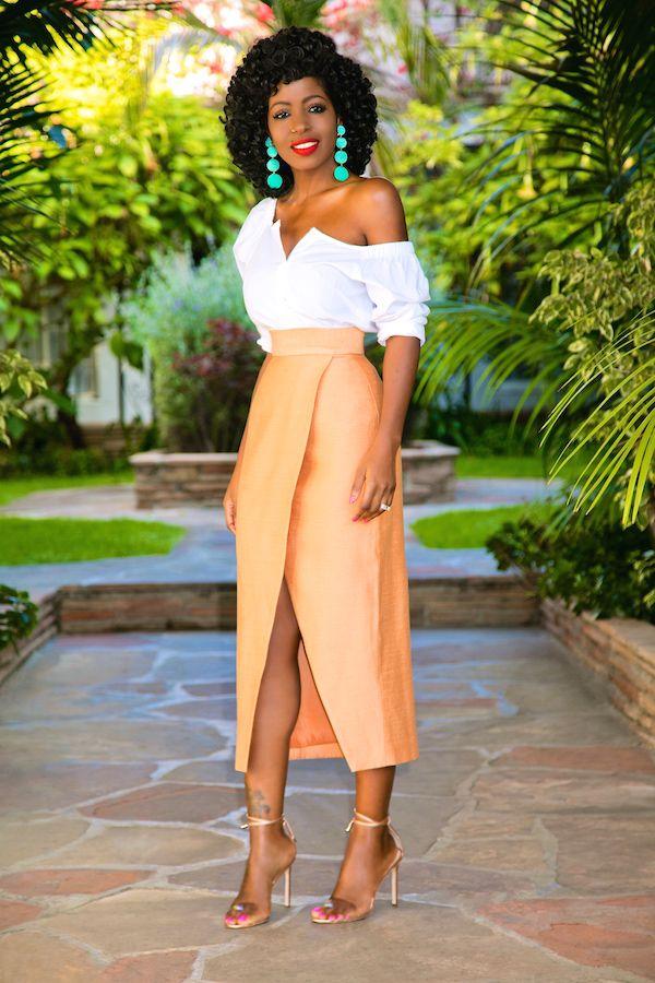 af82198caa8024 Off Shoulder Button Down + Front Slit Tulip Skirt (Style Pantry ...