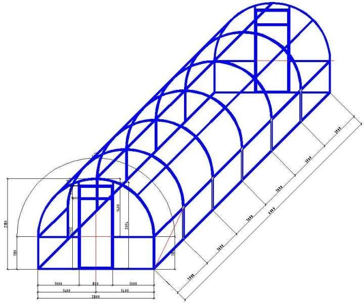 чертеж теплицы 6х3 из профильной трубы