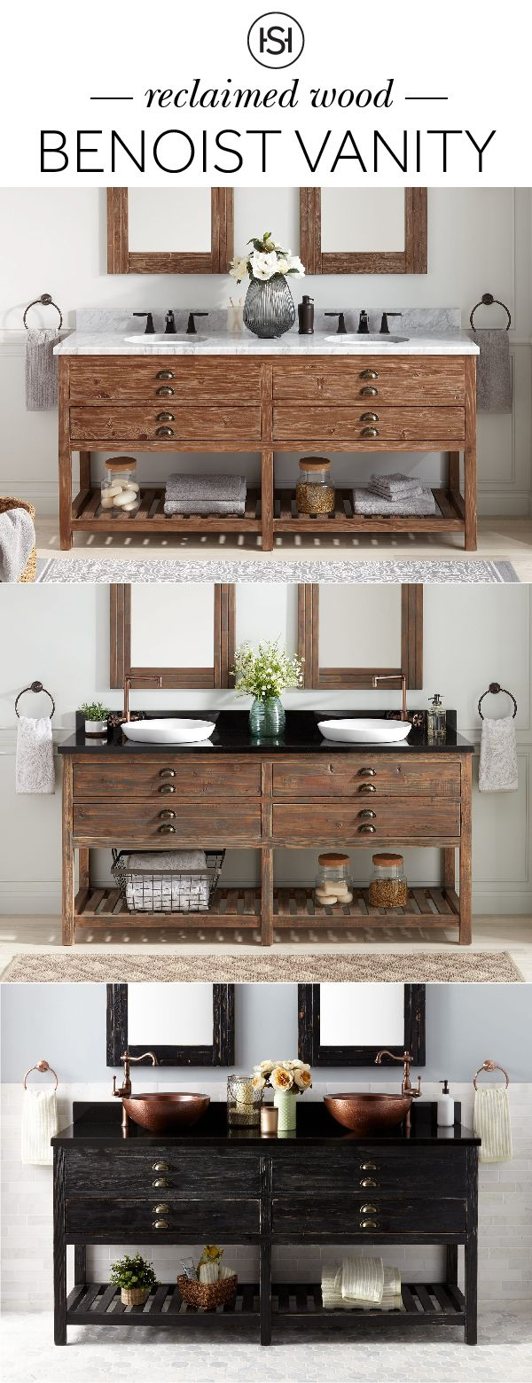 Create the perfect rustic bathroom with vanities that embody the