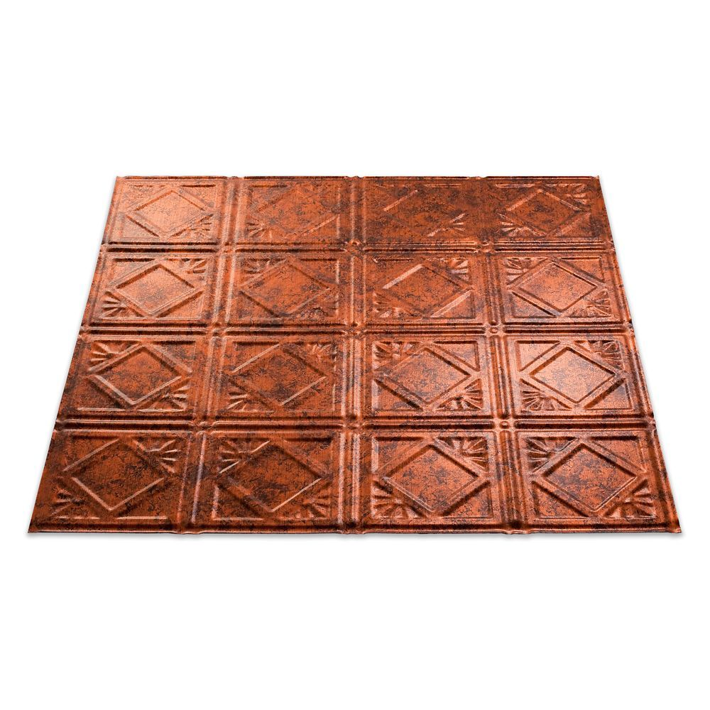 Traditional 4 Moonstone Copper Ceiling Tile 2x2 Copper