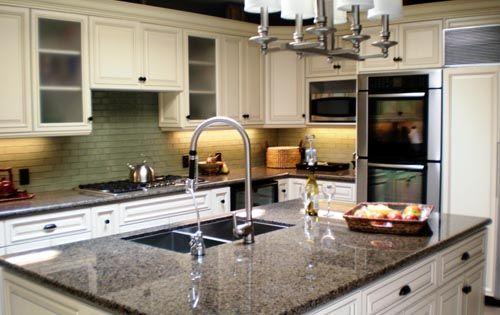 Perfect White Cabinets With Granite Countertops | With Patina Paradiso Granite  Counter Tops Crema Marfil Marble Counter