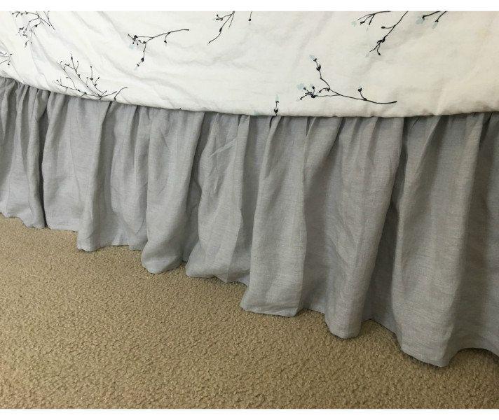 CustomLinensHandmade on Etsy: Stone Grey bed skirt in natural linen grey bed ruffles grey dust ruffles bed skirts grey bedding (157.00 USD)