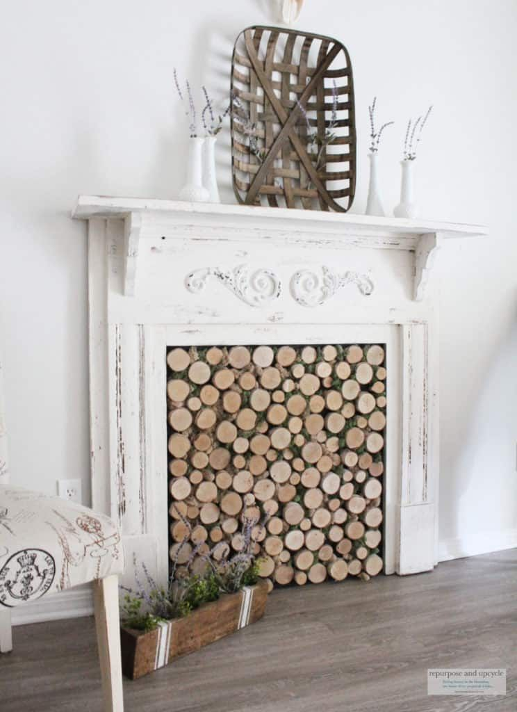 Diy birch wood fireplace cover for a faux wood fireplace