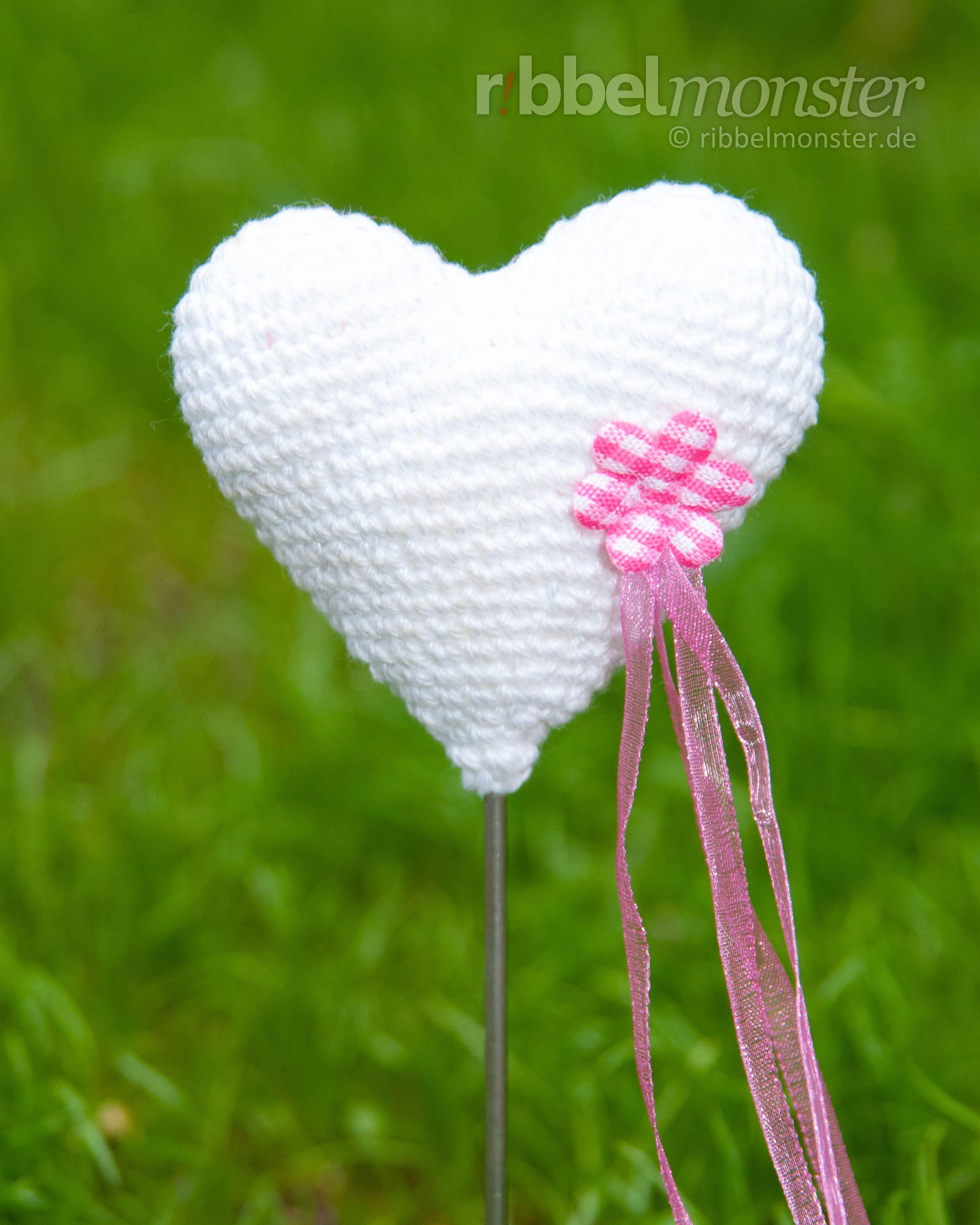 Anleitung Amigurumi Herz Blumenspieß Häkeln Herzen