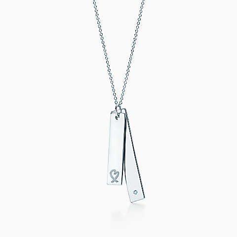 c4e17c101 Paloma Picasso® Loving Heart double bar pendant in silver with a diamond.