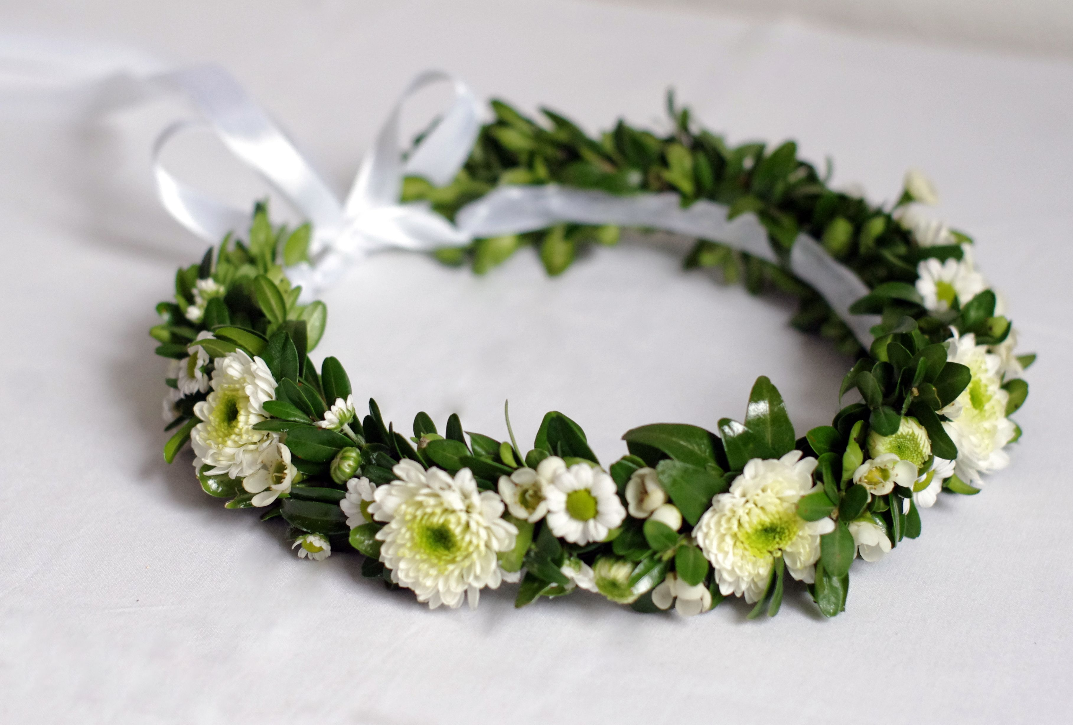 Ukwiecona Wianek Komunijny Bukszpan Margaretka Chryzantema Crown Jewelry Crown Jewelry