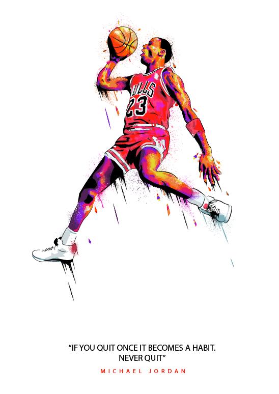 Michael Jordan Never Quit Illustration Hooped Up Michael Jordan Art Michael Jordan Michael Jordan Images
