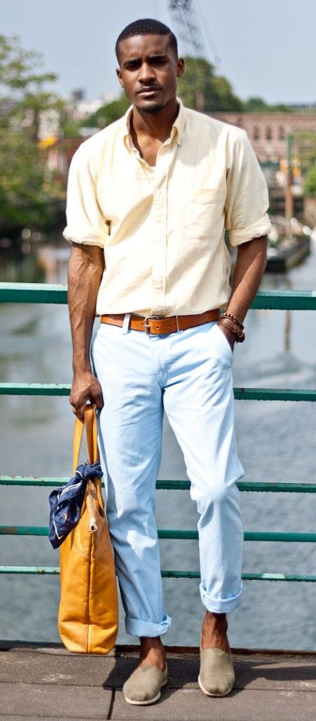 Weather Dressing Perfect combination of color and accessories to just make people stop and look. Pastels work beautifully here - light yellow rolled up shirt with a light blue (baby blue for some of you) chinos. Go strong on the accessories. The slip-ons completes a casual feelPerfect combination of color and accessories to just make people sto...