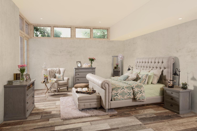 Rec mara estilo vintage cama royal industrial tocador for Departamentos decorados estilo vintage
