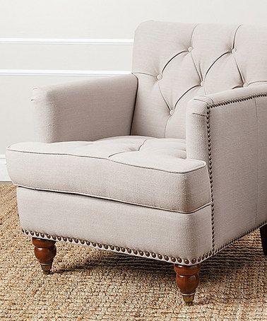 Another great find on #zulily! Beige Nailhead-Trim Linen Club Chair #zulilyfinds