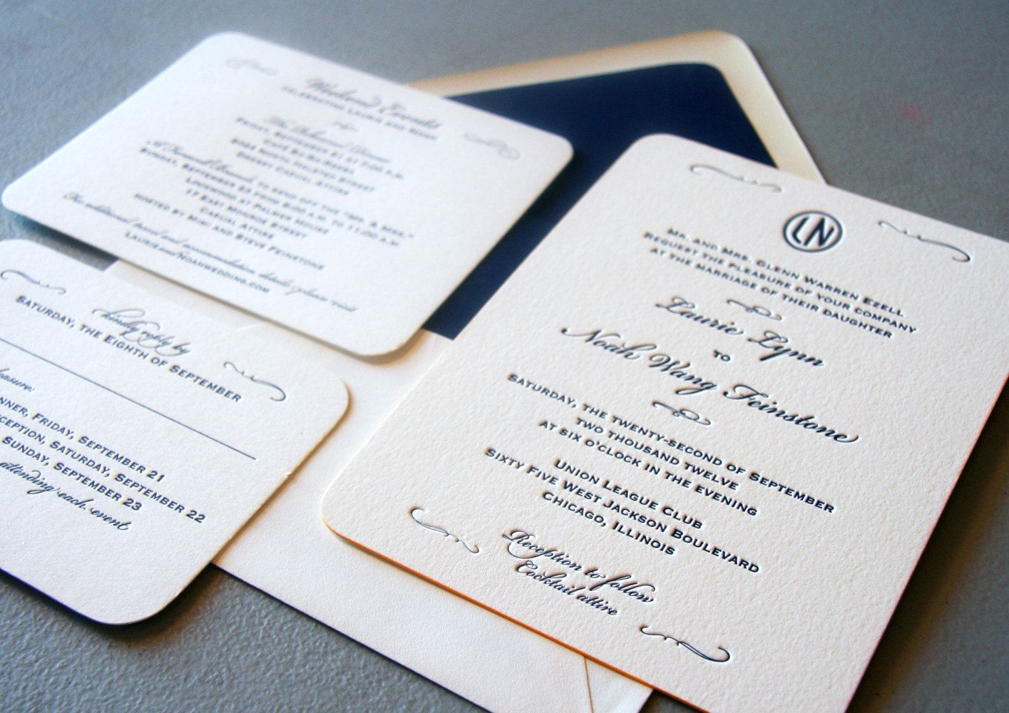 Custom Letterpress Wedding Invitations - Classic Navy. $10.00, via ...