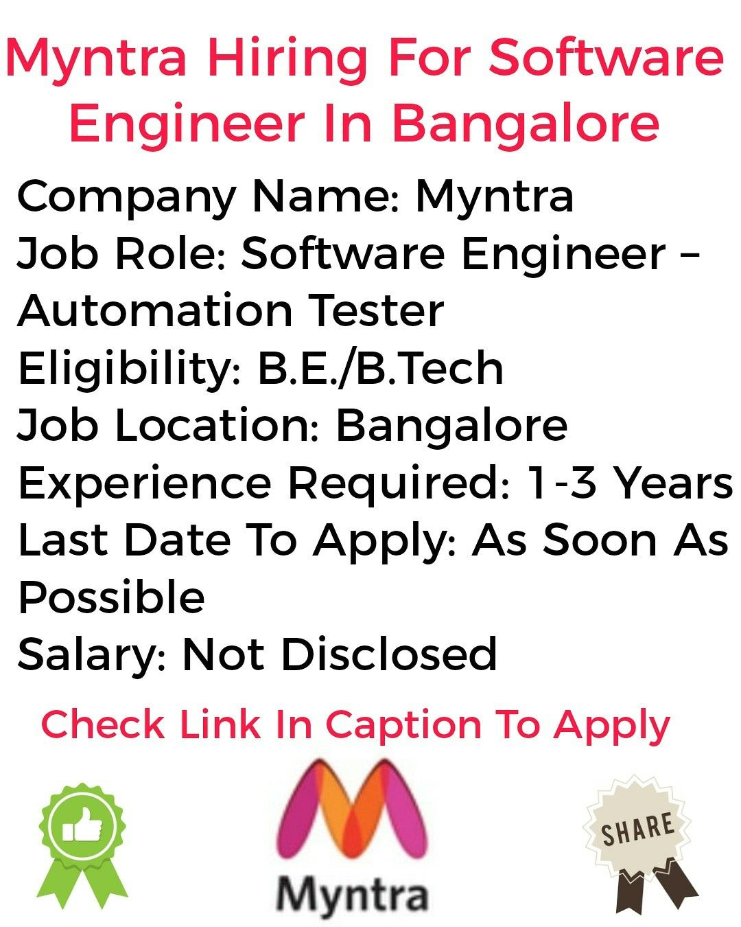 Myntra Hiring For Software Engineer In Bangalore in 2020