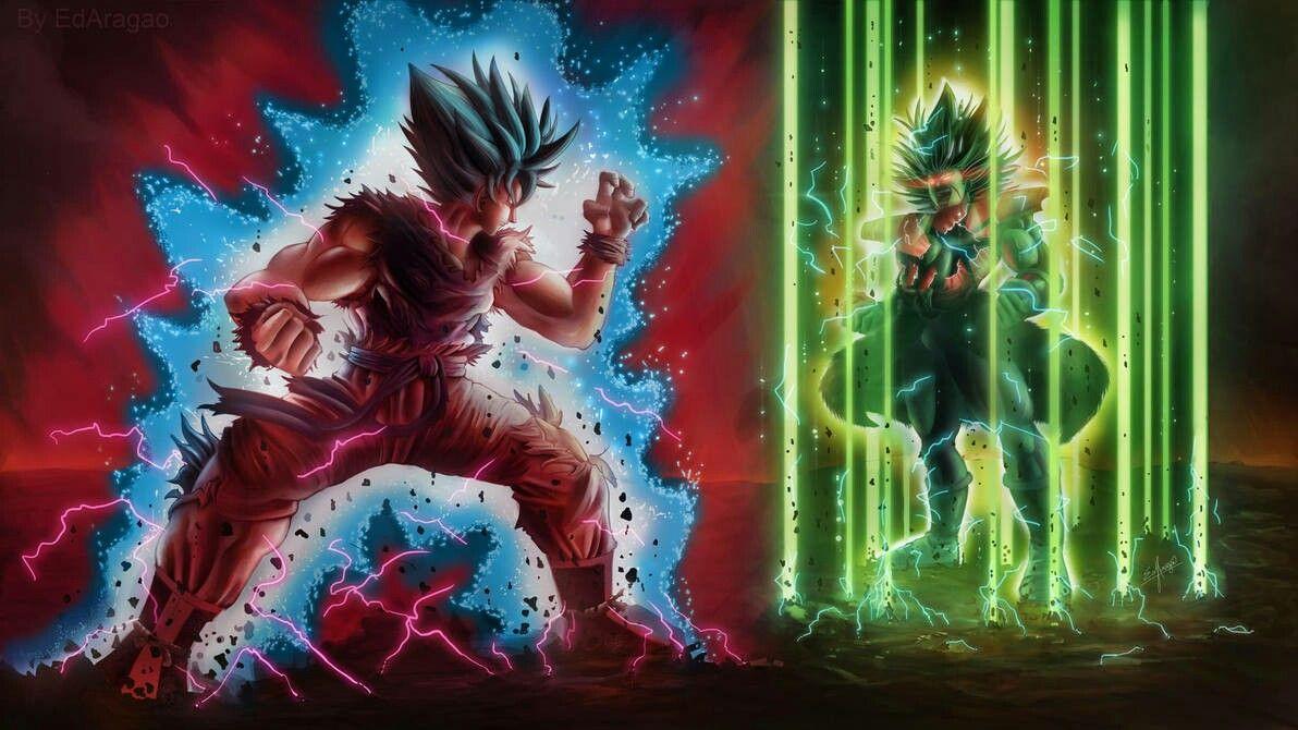 Goku SSB Kaioken Vs Broly Legendary SSJ