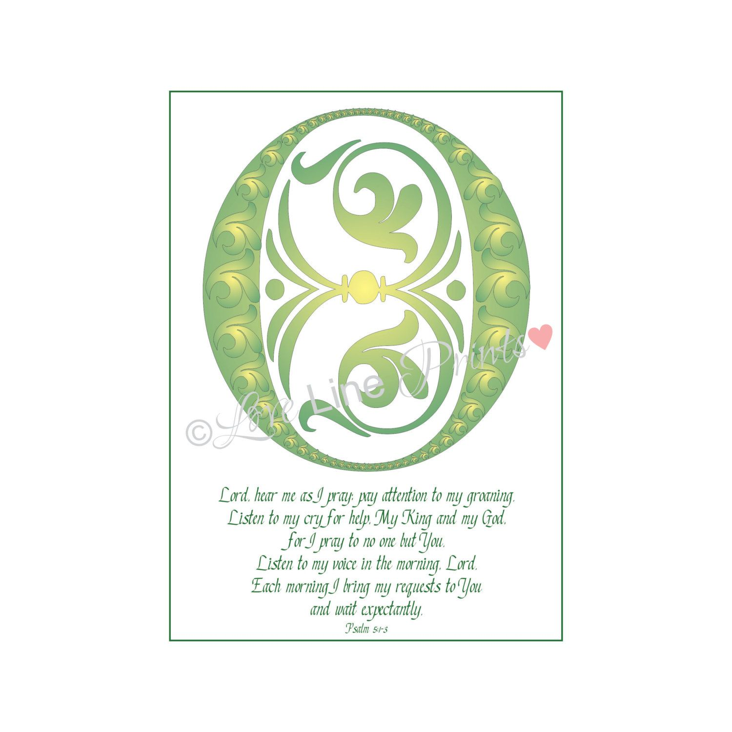Instant Digital Download Love Lines Letter O for O Lord