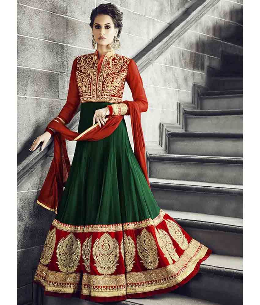 Red heavy bridal anarkali frock 7 suitanarkali in - Beautiful Bottle Green And Red Designer Anarkali Suit