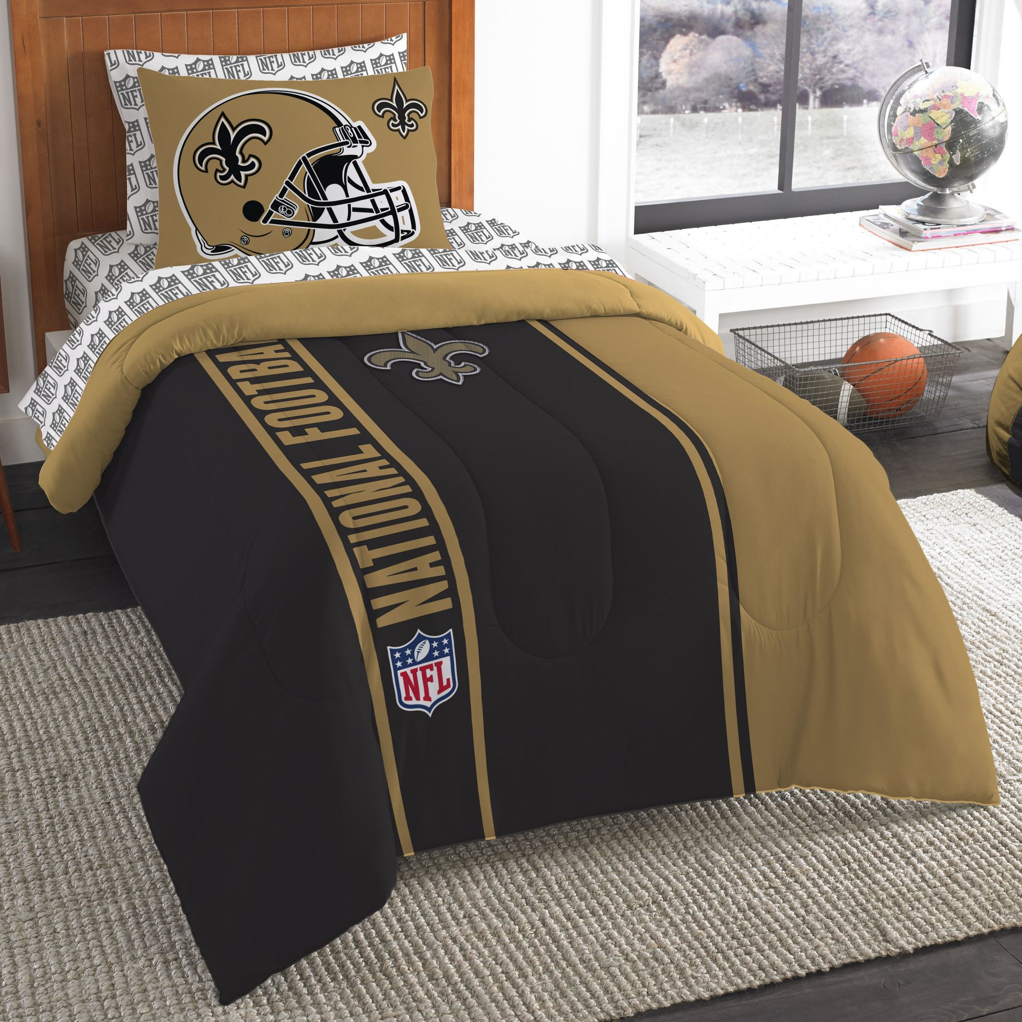 Denver Broncos 2 Pc TWIN Size Printed Comforter//Sham Set