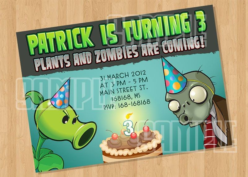 plants vs zombies invitation | maurice 5 bday | pinterest | plants,