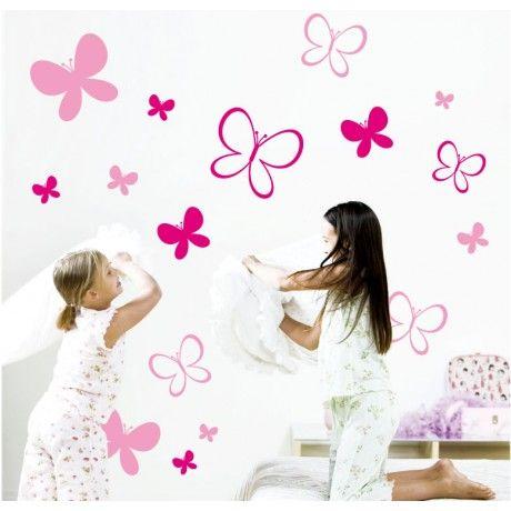 Vinilo maripositas papillons infantil habitacio for Vinilos decorativos habitacion nina