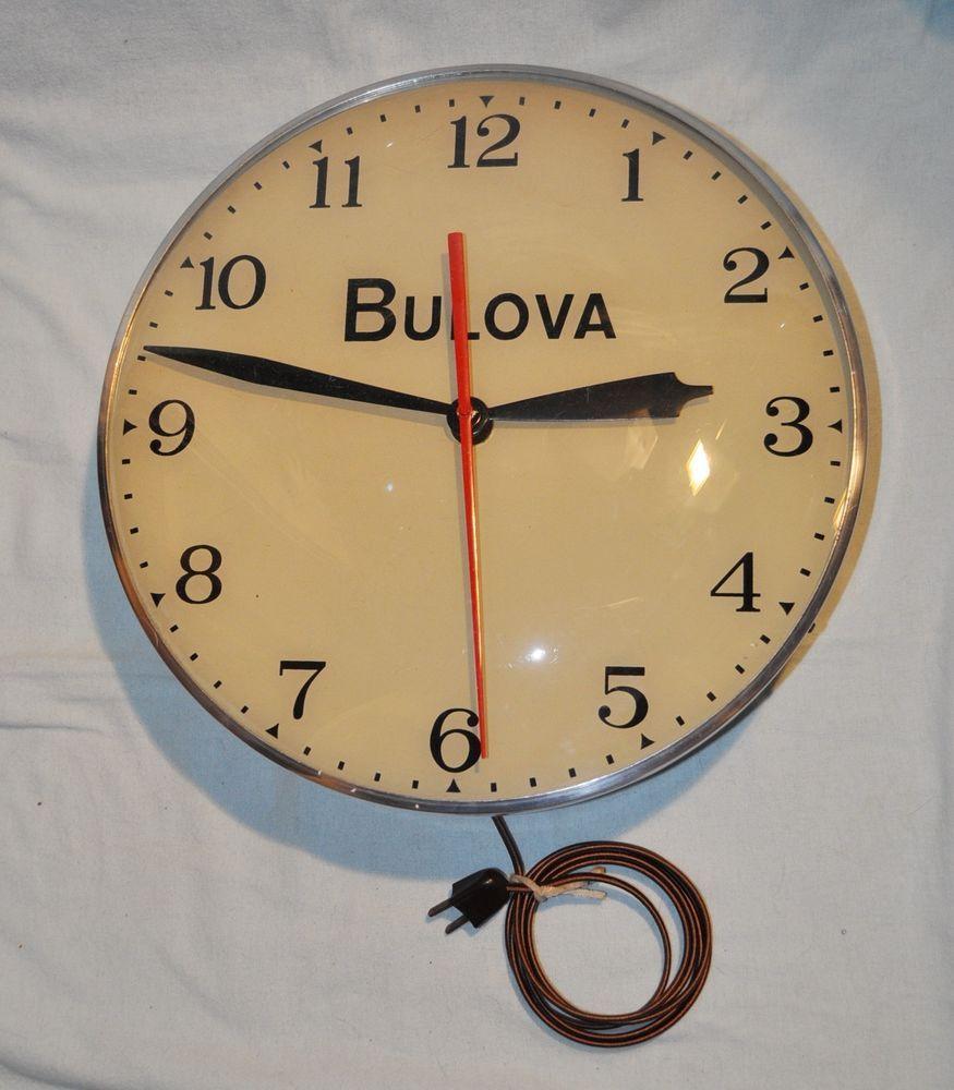 Bulova vintage advertisement electric wall clock refurbished bulova vintage advertisement electric wall clock refurbished amipublicfo Choice Image