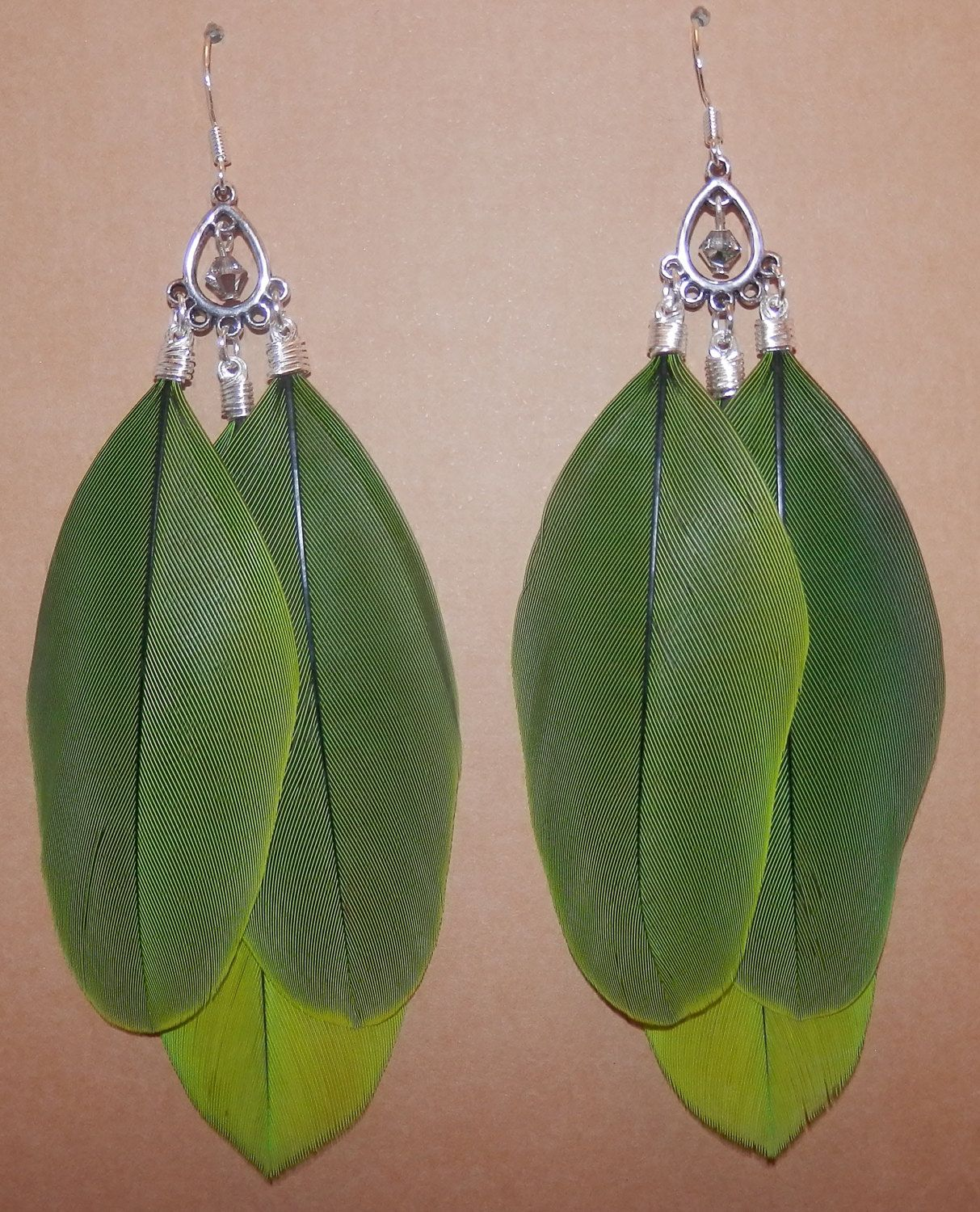 Long Green Amazon Parrot Feather Chandelier Earrings with ...