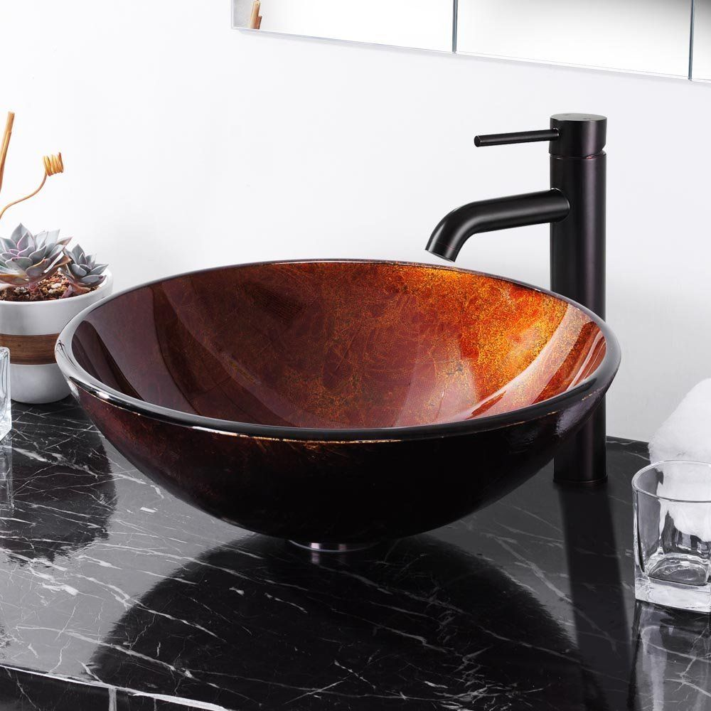 A+ Yescom Retro Round Tempered Glass Vessel Sink W/ Faucet Mount Ring Pop  Up Drain Set, Retro Glass