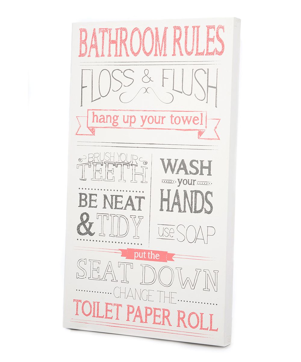 Pink & Gray Bathroom Rules Wall Art | Daily deals for moms ...