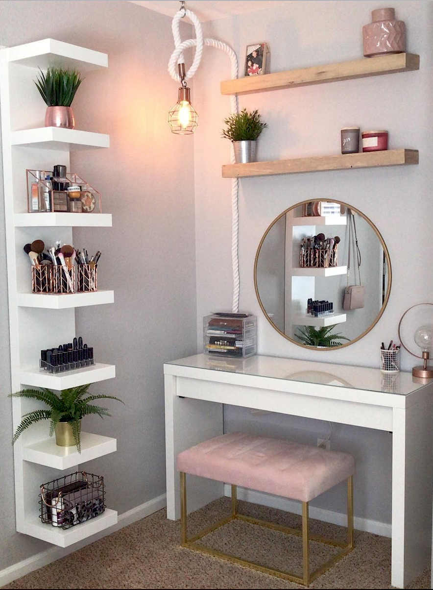 Makeup Room Ideas  Slaapkamerdecoratieideeën, Kaptafel ideeën