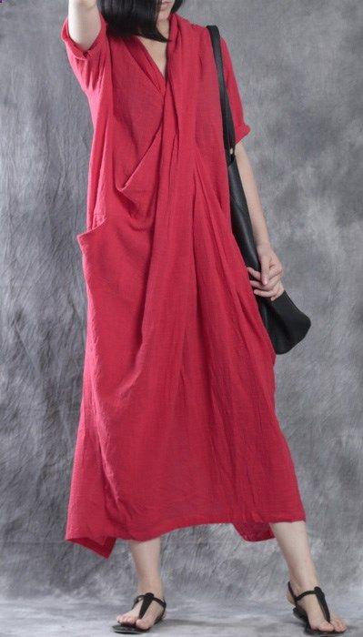 da3e2e85ff7 Red dresses long linen dress maxi sundress caftans plus size tunic ...