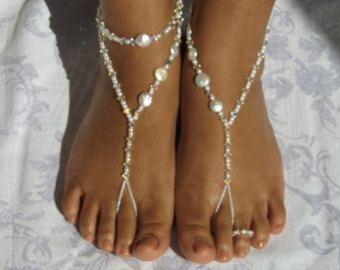 Foot Jewelry Pearl Swarovski Element Barefoot by SubtleExpressions