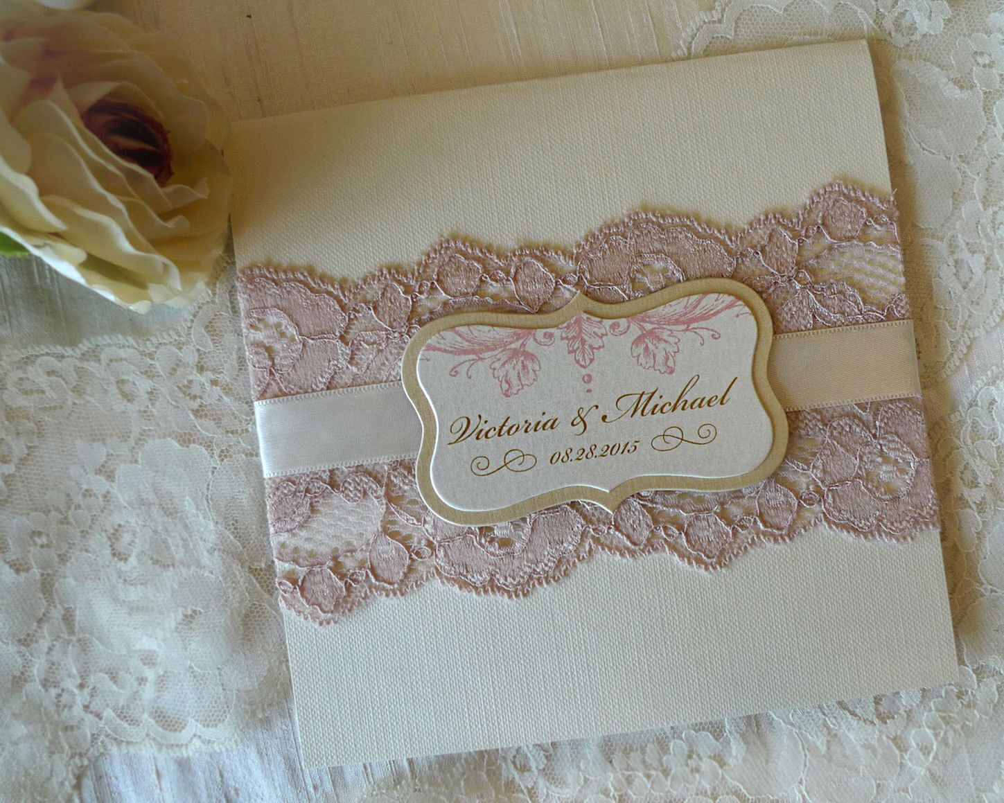 Wedding Invitation Card Handmade: Pink And Gold Wedding Invitation.Lace Wedding Invitation