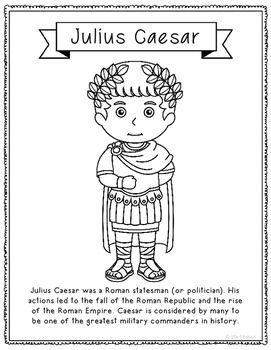 Julius Caesar Coloring Page Craft Or Poster With Mini Biography