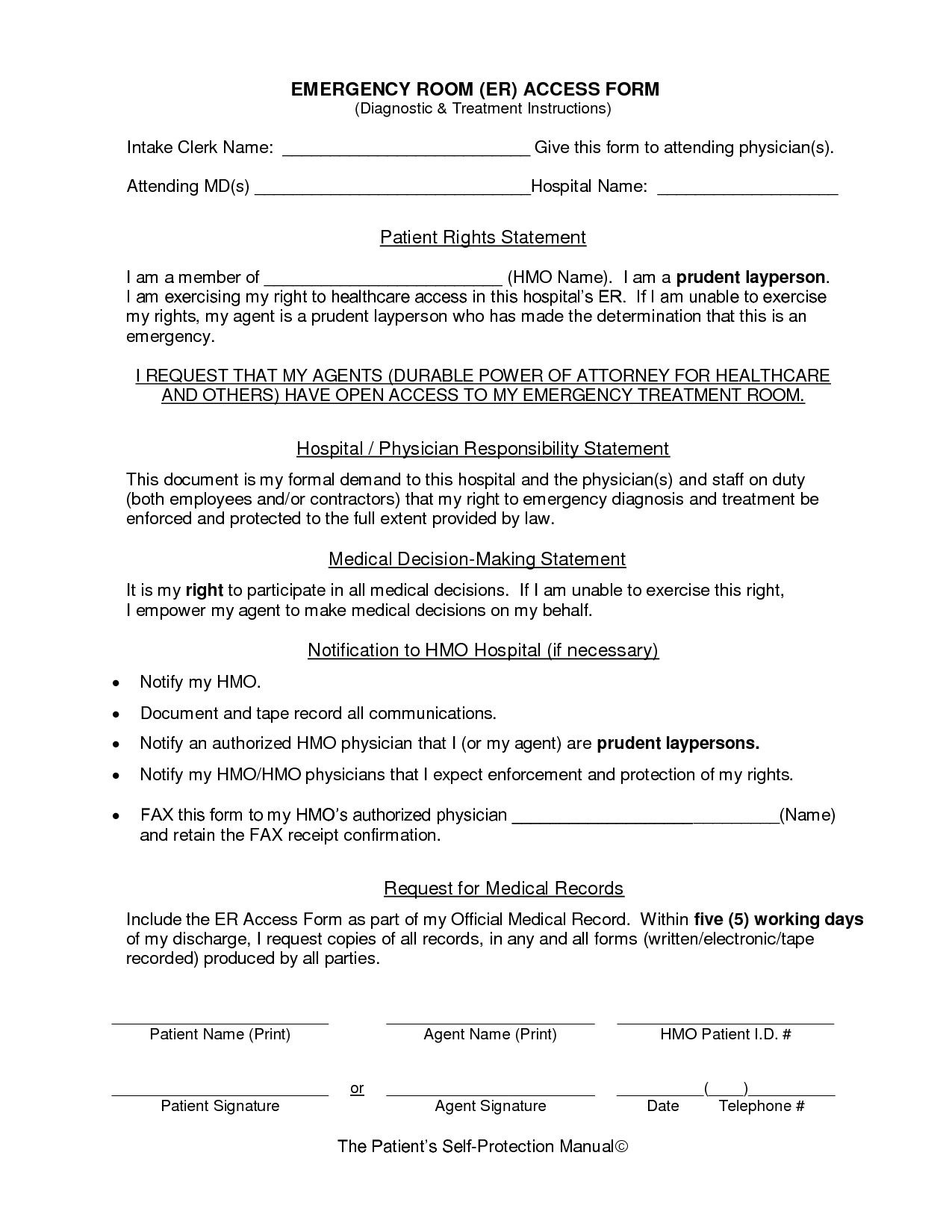 28 emergency room form template in 2020 templates