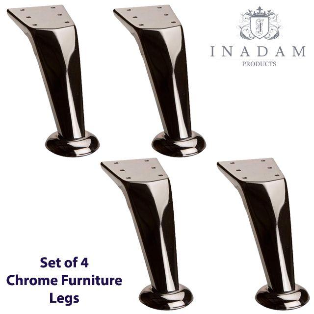 4 X Chrome Modern Furniture Legs Feet Rounded Feet Furniture Legs Metal Furniture Legs Metal Sofa