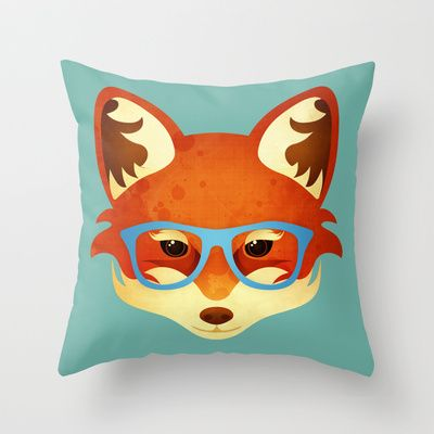 Hipster Fox Throw Pillow by Compassionate Tees - $20.00